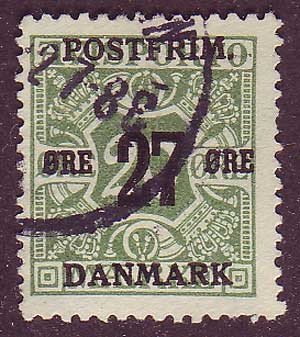 DE01505 Denmark Scott # 150 F-VF Used. Surcharged Newspaper Stamp 1918