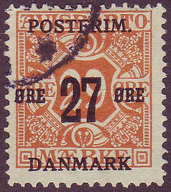 DE01515 Denmark Scott # 151 F Used, Surcharged Newspaper Stamp 1918