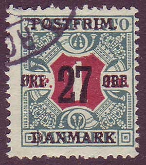 DE01545 Denmark Scott # 154 F Used. Surcharged Newspaper Stamp 1918
