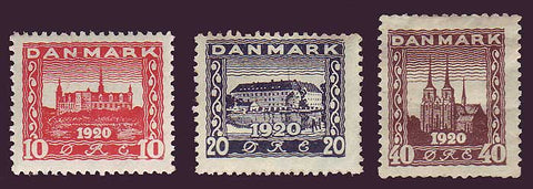DE0156-582 Denmark Scott # 156-58 MH, Castles and Cathedrals 1920