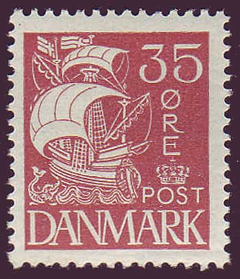 DE01962 Denmark Scott # 196 F-VF MH, Caravel Issue 1927