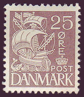 DE02341 Denmark Scott # 234 VF MH, Caravel type 1934