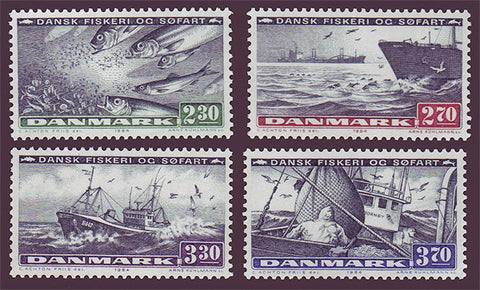 DE0760-631 Denmark Scott # 760-63 MNH, Fishing and Shipping 1984