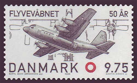 DE11921 Denmark Scott # 1192  MNH, Royal Danish Air Force 2000