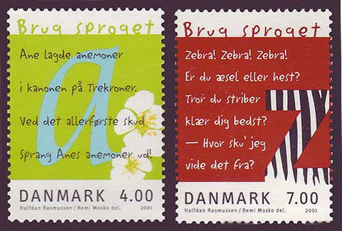 "DE1196-971 Denmark Scott # 1196-97  MNH, ""Use the Language"" 2001"