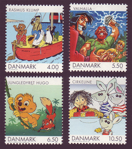DE1218-211 Denmark Scott # 1218-21  MNH, Comics and Cartoons 2002