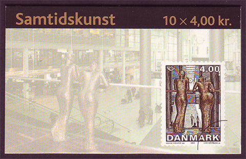 DE1222a5 Denmark       Scott # 1222a Used Booklet, Sculpture 2002