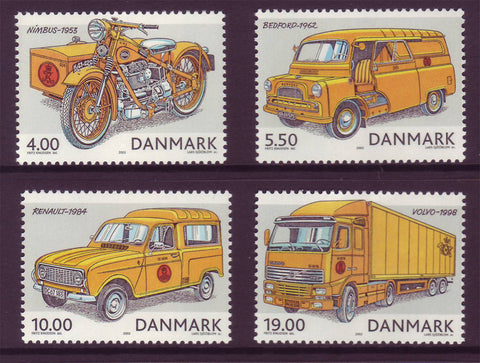 DE1230-331 Denmark Scott # 1230-33  MNH, Historic Postal Vehicles 2002