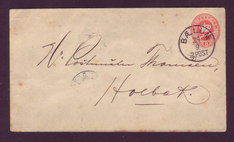 DE5001 Denmark Postal Stationery Envelope, Local Bælum to Holbæk - 1897