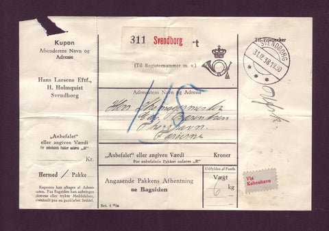 DE5003 Denmark Parcel Card, Denmark to Faroe Islands ''Unpaid'' Rare! 1938