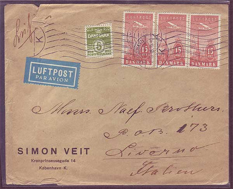 DE5008 Denmark,Commercial Airmail Cover to Italy 1936
