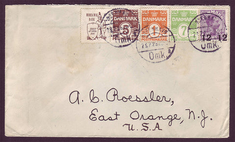 DE5010 Denmark Mohawk Advertising Label Pair on Cover - Rare!