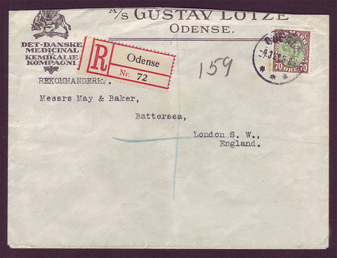 DE5011 Denmark Registered letter to England + Perfin