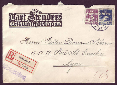 DE5014 Denmark, Registered Business Letter to France 1914
