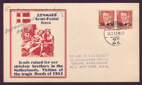 DE5025 Denmark Semi-Postal FDC.  Help for the Netherlands 1953