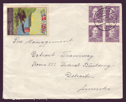 DE5027 Denmark, Letter to USA with label 1947