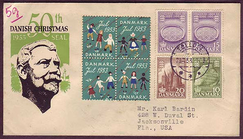 DE5030PH Denmark Commemorative envelope  to Canada 1953