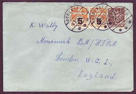 DE5033PH Denmark Letter to England 1956