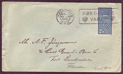 DE5035PH Denmark Letter to USA 1931
