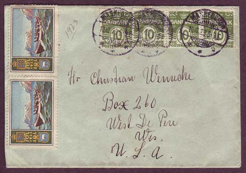 DE5042PH Denmark,       Letter to USA 1923