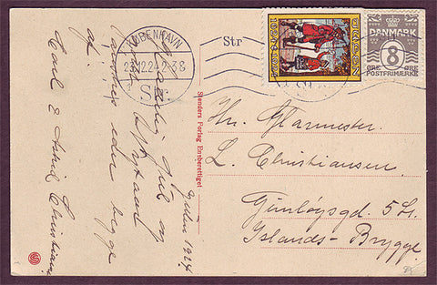 DE5089b Denmark 1924 Christmas seal tied to postcard.