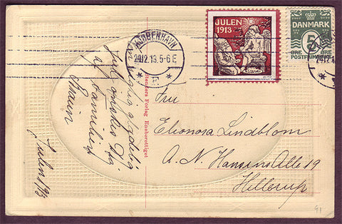 DE5091b Denmark 1913 Christmas seal tied to postcard.