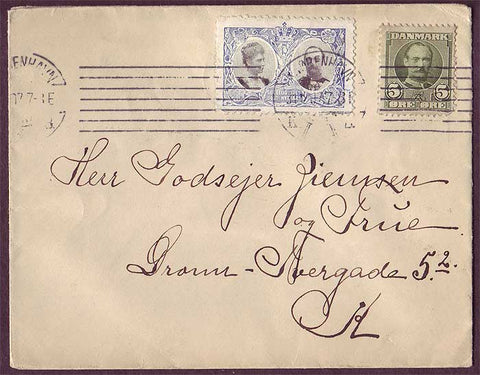 DE8005 Denmark 1907 Christmas seal on cover tied with          machine cancel.