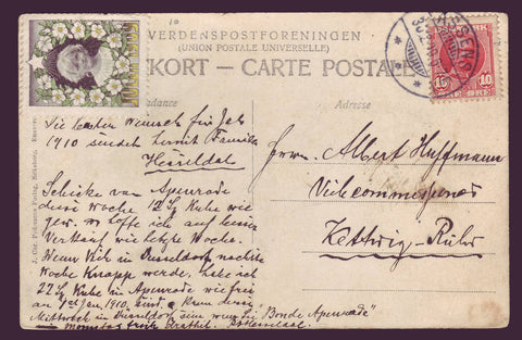 DE8006.1 Denmark 1909 Christmas  on  postcard.
