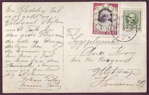 DE8008 Denmark 1911 Christmas seal tied to postcard.