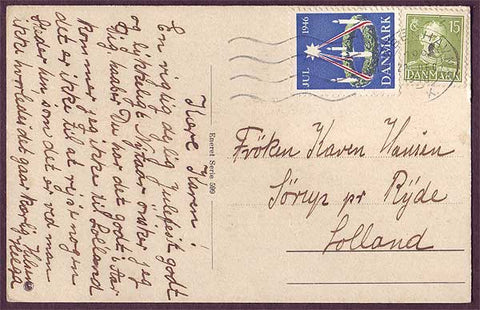 DE8010 Denmark 1946 Christmas seal tied to postcard