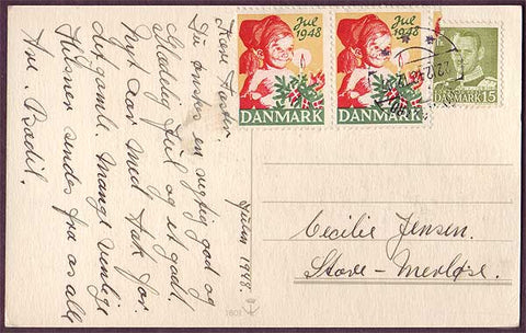DE8012 Denmark 1948 Christmas seal tied to postcard