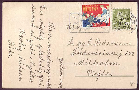 DE8014 Denmark 1949 Christmas seal tied to postcard
