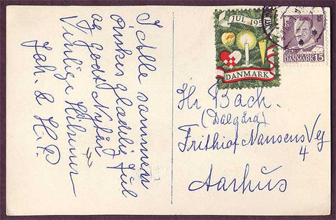 DE8015 Denmark 1951 Christmas seal tied to postcard