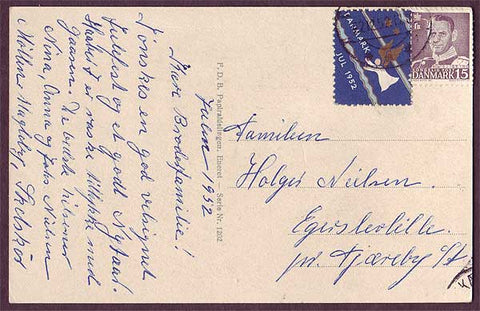DE8017 Denmark 1952 Christmas seal tied to postcard