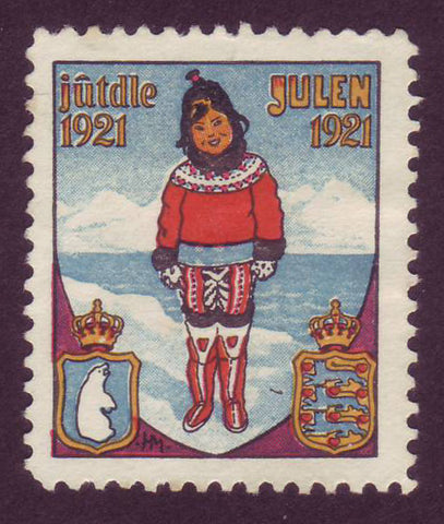 DE8033 Denmark 1921 Christmas Seal - Greenlandic Traditional Costume