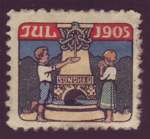 1905 Danish Christmas Seal Mint. Children and symbols of good health.