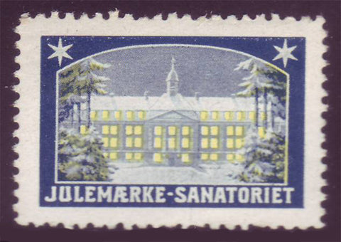 Denmark 1908 Christmas Seal in blue and yellow showing the Christmas Seal Sanatorium in Kolding.