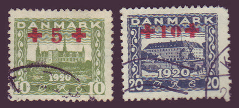 DEB01-025 Denmark Scott # B1-2 Used, Red Cross 1921