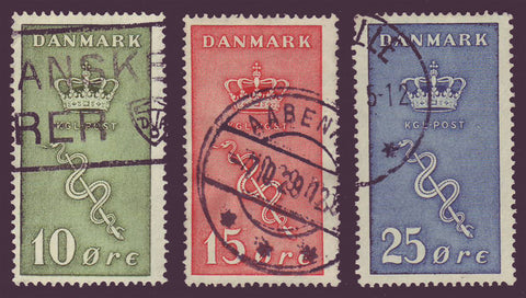 DEB03-055 Denmark Scott # B3-B5 VF Used, Danish Cancer Society 1929