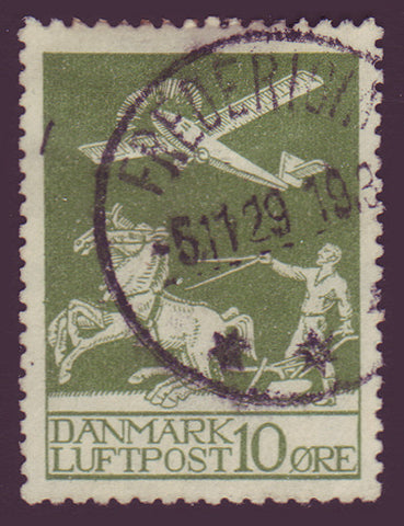 DEC01 Denmark Scott # C1 Used, Air Mail 1925-29