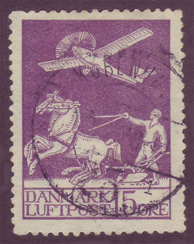 DEC02 Denmark Scott # C2 Used, Air Mail 1925-29