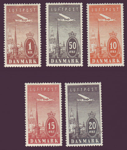 DEC06-101 Denmark Scott # C6-10 XF MNH** Air Mail 1934