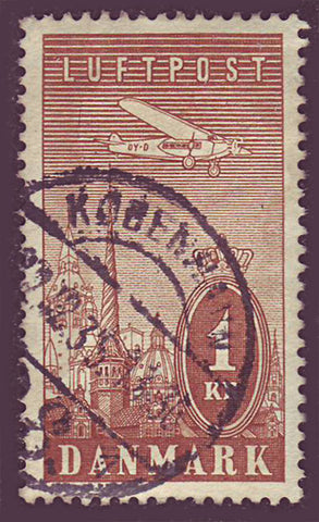 DEC105 Denmark Scott # C10 VF Used, Air Mail 1934