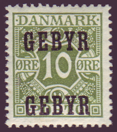 DEI011 Denmark Scott # I-1 VF MH Late Fee Stamp 1923