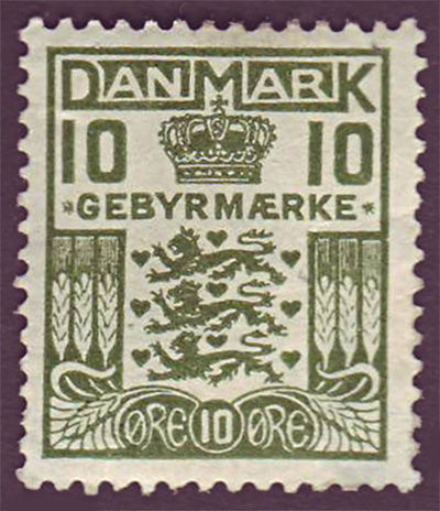 DEI02 Denmark Scott # I-2  MH Late Fee Stamp 1923