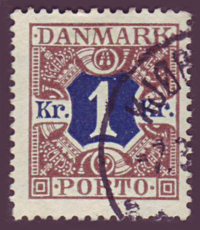 DEJ23 Denmark Scott # J23  used, Postage Due 1921
