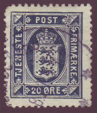 DEO24 Denmark Scott # O24 F-VF Used, Official Stamp 1920