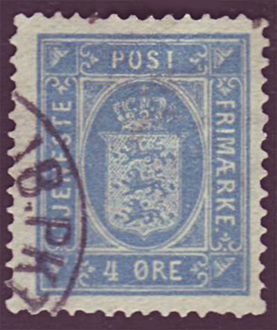 DEO07 Denmark Scott # O7 VF Used, Official Stamp1875