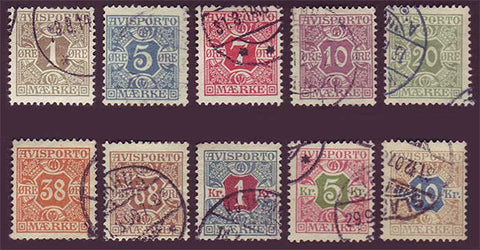 DEP01-10 Denmark Scott # P1-P10 F-VF Used, Newspaper Stamps 1907