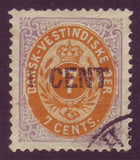 Danish West Indies stamp, lilac and orange with 1 cent surcharge in black.